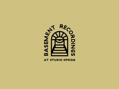 Basement Recordings 3 typography stairs psychedelic logotype logo illustration identity eye door design cellar basement badge logo badge design badge