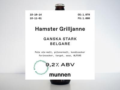 Hamster Grilljanne munnenhembryggeri typography beer branding branding beer art beer craft beer label design label beer label