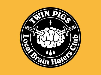 Twin Pigs patch merchandise merch punk band punk brain dagger knife black  white typography illustration badge patch logotype