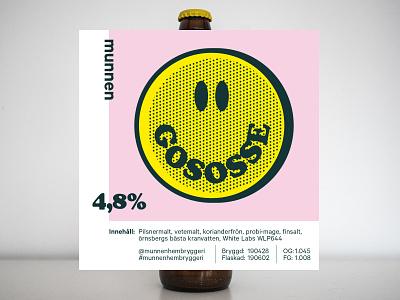 Gososse label munnenhembryggeri cooper black cooperblack munnenhembrygeri craft beer smiley packaging illustration beer label beer