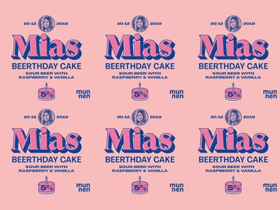 Mias Beerthdaycake munnenhembryggeri munnen raspberry sour beer cake birthday labeldesign label beer branding beer label beer art beer typography
