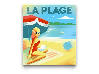 POSTER | Summertime summer beach vintage vector riviera retro poster monaco illustration girl deco art