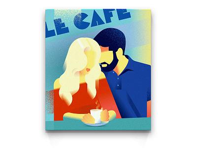 POSTER | Summertime cafe vintage vector riviera retro poster monaco illustration girl deco art