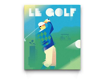 POSTER | Summertime golf vintage vector riviera retro poster monaco illustration man deco art