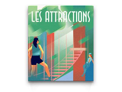 POSTER | Summertime atrtraction vintage vector riviera retro poster monaco woman illustration golf deco art