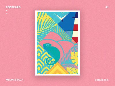 Postcard #1 | Miami Beach vintage retro poster style florida time summer beach miami deco art postcard