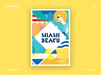 Postcard #3 | Miami Beach vintage time summer style retro poster postcard miami florida deco beach art