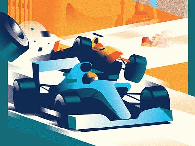 F1 Baku illustration motion drive bolide car racing formula f1