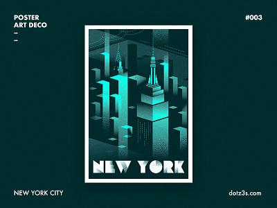 Poster Art Deco / New York 03 city york new night black poster illustration graphic deco art