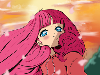 Pink Sunset characterdesign animeart procreate illustrator anime design cute illustration