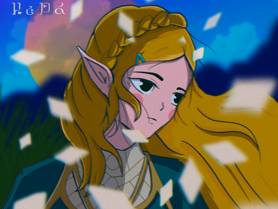 Princess Zelda 2d legend of zelda videogame nerd zelda illustrator procreate diseño character animeart ipadpro characterdesign anime illustration