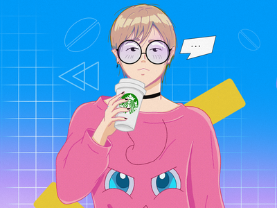 Coffee Time nobinary color 80s style 80s coffee coffee cup starbucks procreate mangaart illustrator 2d ipadpro character animeart illustration characterdesign anime