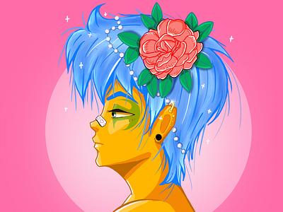 Flower boy anime 2d procreate character ipadpro illustration characterdesign
