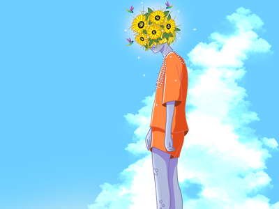 Clouds and flowers anime 2d procreate character ipadpro illustration characterdesign