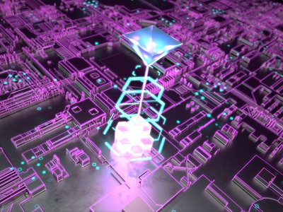 Neon Abstract fun maya render pyramid purple blue neon abstract redshift 3d displacement jsdisplacement