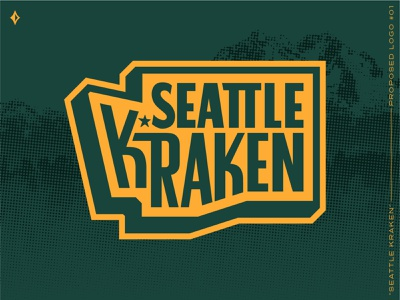 Seattle Kraken, proposed mark #1 pin halftone outdoors forest green athletics squid kraken mountains washington state sports patch patch sports branding sports nhl hockey northwest washington seattle