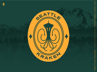 Seattle Kraken, proposed mark #2 pin patch space needle squid kraken green identity logo washington seattle nhl hockey sports identity sports logo sports branding halftone branding