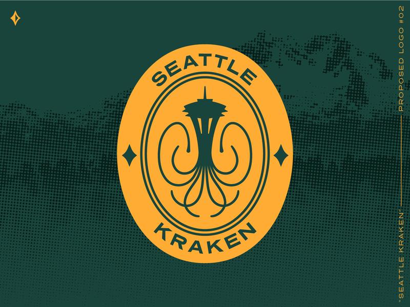 Seattle Kraken, proposed mark #2 pin patch space needle squid kraken green identity logo washington seattle nhl hockey sports identity sports logo sports branding halftone branding