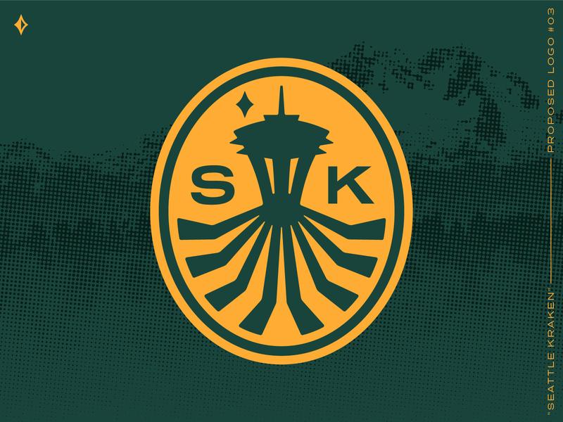 Seattle Kraken, proposed mark #3 badge pin patch sports logo sports identity sports branding space needle washington seattle squid kraken nhl branding and identity idenity hockey green branding