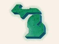 michigan outdoors state park detroit green branding design geometric state michigan state illustrated map icon branding and identity marquette grand rapids nature state map isometric map illustration branding michigan map michigan