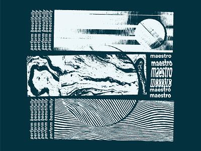 Maestro T-shirt Design tshirt design shirt design apparel tshirt shirt blue distort bitmap distorted glitch art glitch screenprint texture scan illustration
