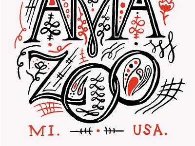 Kalamazoo Poster Illustration hand type mi city decorative lettering art hand lettered hand drawn city poster screenprinted screenprint hand lettering lettering kalamazoo michigan