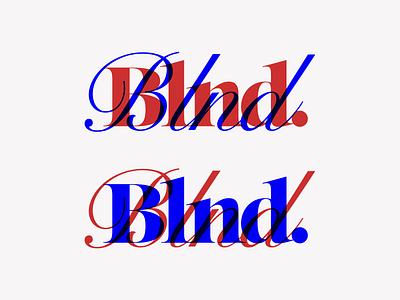 Blnd. Logo Exploration lettering stamped stamp script screenprint overlay blue red monogram logo branding