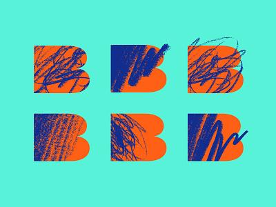 Killer Bz charcoal scribble illustration hand drawn logo monogram texture blue orange green pencil identity design branding and identity branding b logo b