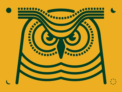 great horned owl green yellow orange halloween spooky thick lines identitydesign animal icon identity owl icon bird logo owl logo animal logo owl bird animal branding illustration