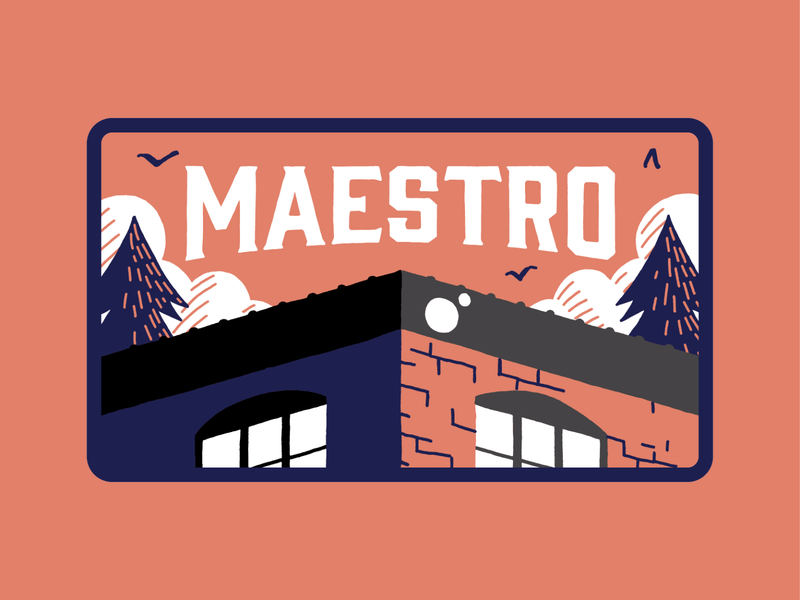 Maestro Patch #1 tree salmon navy orange embroidered patch embroidery hat design nature custom type branding illustration sunset outdoors patch design patch hat