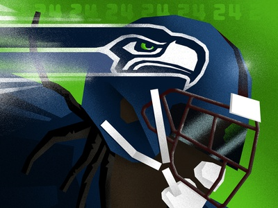 Marshawn branding sports branding identity sports identity vector illustration marshawn lynch seahawks editorial illustration digital illustration blue green nfl low poly texture sports design football seattle sports sports illustration