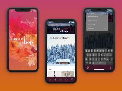 Scandishop Mobile App Design ux  ui typography minimalistic gradients scandinavian style adobe xd visual design ecommerce app ui design app design