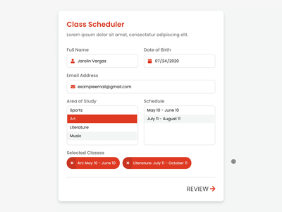 Class scheduling form