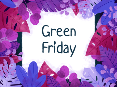 Green Friday plastic zero waste eco clothes ecology cute colors texture brush flowers sale sales friday green friday green black friday