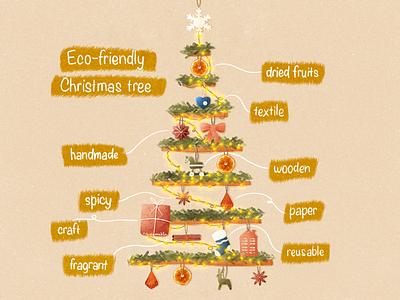 Eco-friendly Christmas Tree reusable paper textile wooden plastic zero waste garland texture procreate handmade christmas tree christmas recycle ecology eco-friendly