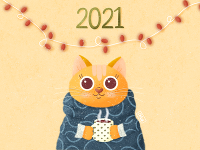 Cute Cat New Year design happy new year girls art illustration sweater animals ami cats cup procreate texture cure cat 2021 new year