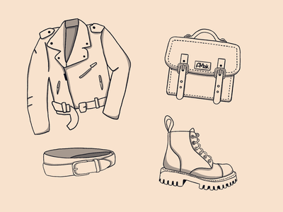 Sketch bag jacket clothes texture reuse recycle procreate sketch eco leather leather zero waste ecology illustration