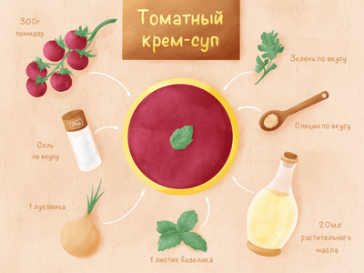 Tomato soup slow living zero waste ecology design basil oil cooking cook food recipes vegetarian vegan soup tomato soup tomato texture procreate illustration