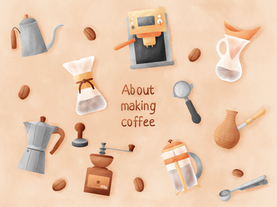 About making coffee organic eco coffee remake reuse recycle ecology cup coffee machine texture art procreate nespresso set illustration coffee