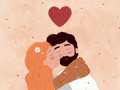 Love characters design ecology illustration characters design brushes heart hair gingerhair girl boy lovers texture art procreate lovely