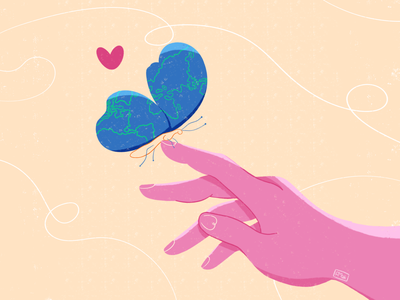 Protect Our Planet recycle cute little global warming climate change climate love ecology love planet stroke zero waste ecology illustration procreate texture hand heart love butterfly earth planet