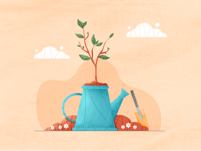 Eco Tree nature shovel pallete stroke water can watering can cute flowers world earth clouds texture ecology zero waste procreate illustration trees million trees tree