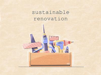Sustainable renovation eco-friendly eco sustainable renovation repair texture zero waste vector procreate ecology illustration