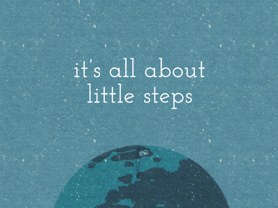 It's all about little steps calligraphy cute space stars planet earth zero waste texture vector procreate ecology illustration