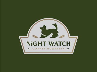 Night Watch design illustration wolf badge coffee