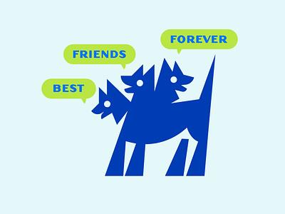 BFFs mythology design vector illustration friends dogs
