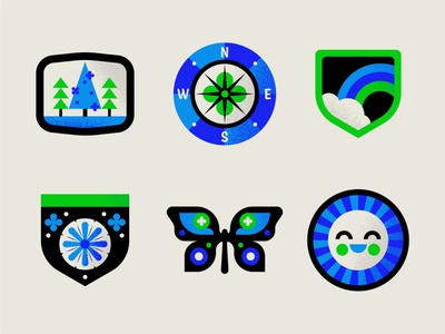 Scout Badges butterfly flowers trees compass sun nature badge