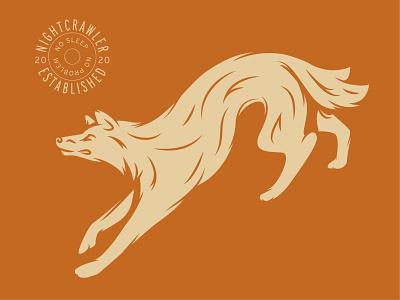 Nightcrawler tan badge coyote wolf illustration