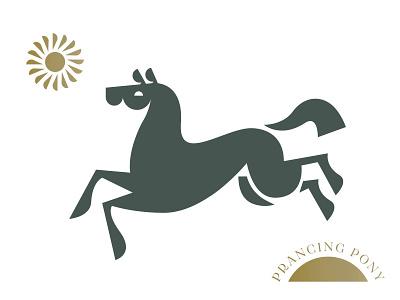 Prancing Pony gold sun horse pony