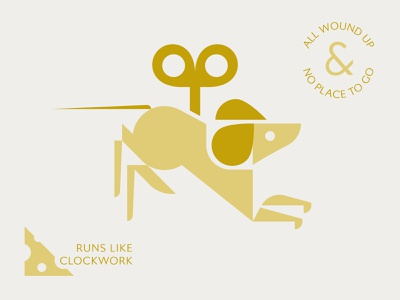 Wound Up cheese key mice mouse illustration
